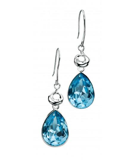 Aquamarine coloured Swarovski Crystal Teardrop Earrings