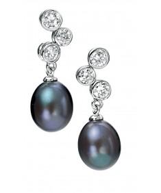 Black Freshwater Pearl/Clear CZ Drop Earring