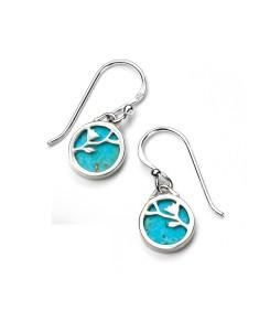 Turquoise Disc Flower Pattern Earring