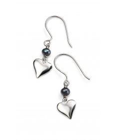 Black Freshwater Pearl Heart Drop Earring