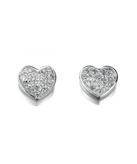 Clear CZ Pave Heart Stud Earring