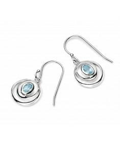 Sky blue topaz double loop earrings