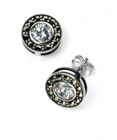 Round Marcasite and CZ Earrings