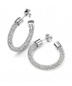 Silver Bead Chain Hoop Earring