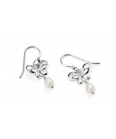 Butterfly Earrings with Pearl Drop