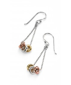 Triple Rings Drop Earring with Gold and Rose Gold Details
