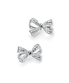 Silver and CZ Bow Earrings