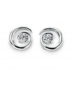 Spiral Stud Earring with Clear CZ