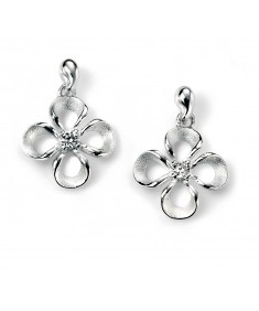 Flower Drop Earring with Clear CZ