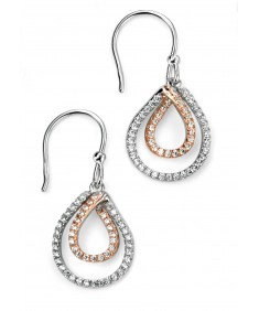 Mixed Plated Clear Pave CZ Triple Teardrop Earring