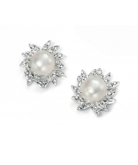 Clear CZ and Freshwater Pearl Cluster Earring