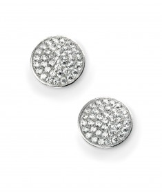 Rhodium Plated Clear CZ Pave Disc Earring