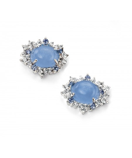 Blue cats and CZ Cluster Earring
