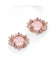 Rose Gold Plated Rose Quartz and CZ Cluster Earring