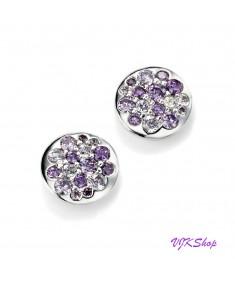 Purple CZ Disc Earrings