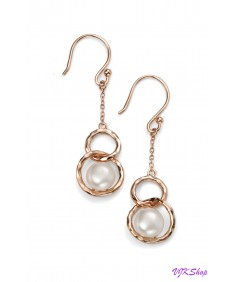 Rose Gold Plated Freshwater Pearl Link Earring