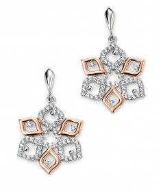 Rose Gold Plated CZ Flower Earring