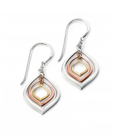 Gold and Rose Gold Plated Triple Lantern Shaped Earring