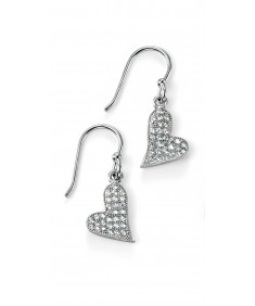 Rhodium Clear CZ Pave Heart Drop Earring