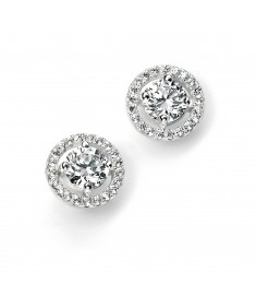 Pave Disc Stud Earring with Clear Round CZ