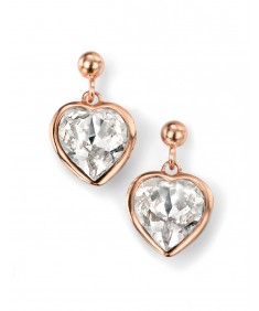 Rose Gold Plated Clear Swarovski Crystal Heart Earring