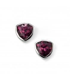 Amethyst Swarovski Crystal Triangle Stud Earring