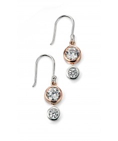 Rose Gold Plated Double CZ Drop Earring