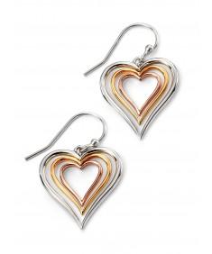Rhodium Plated Leaf Heart Earrings