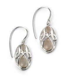 Rhodium Plated Cats eye Oval Earring