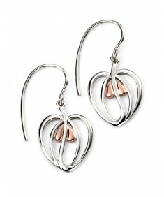 Rhodium Plated Rose Gold Plate Detail Open Heart Earrings