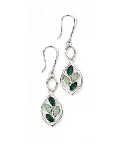 Rhodium Plated Swarovski Dark Green Moss & Chrysolite Teardrop Leaf Earrings