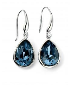 Rhodium Plated Blue Swarovski Crystal Teardrop Hook Earrings
