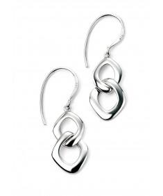 Rhodium Plated Double Interlocking Organic Circle Earrings