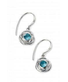 Rhodium Plated Rose Shape Earring with Blue Topaz