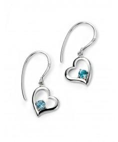 Rhodium Plated Open Heart Hook Earrings with blue topaz