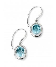 Rhodium Plated Light Blue topaz Oval Hook Earrings
