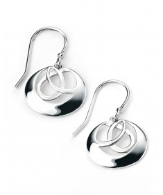 Rhodium Plated Round Interlinked Circle Earrings