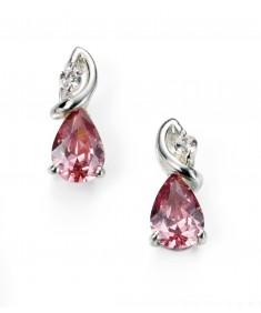 Clear and vintage purple CZ teardrop stud earrings
