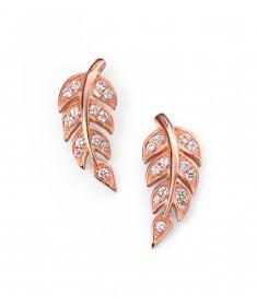 Rose gold plate clear CZ leaf stud earrings