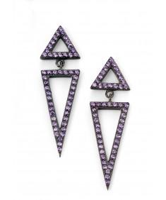 Black plated purple CZ open triangle earrings