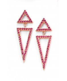 Rose gold plated pink CZ triangle earrings