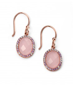 Rose gold plated rose quartz and CZ oval earrings