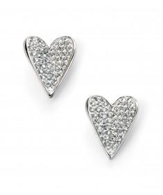 Pave CZ Heart Stud Earrings