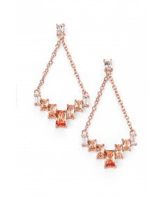 Rose gold plated champagne/clear CZ drop earrings
