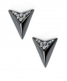 Black plated triangle stud earrings with black CZ