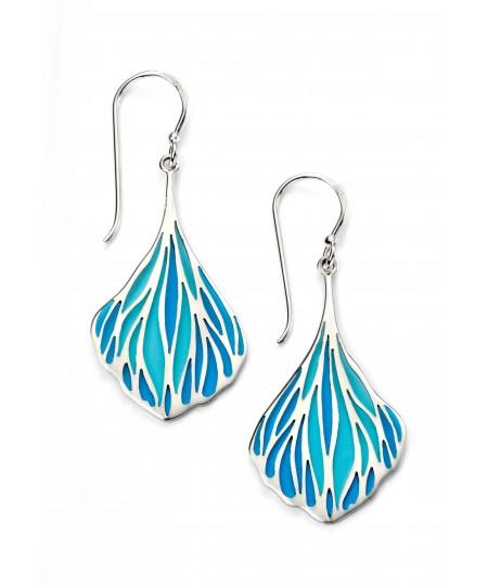 Blue enamel teardrop earrings