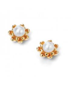 Gold plate pearl flower earrings