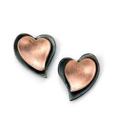 Oxidised and rose gold layered heart stud earring