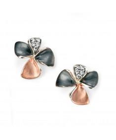Rose gold, oxidised pave CZ flower stud earrings