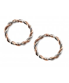 Rose gold and rhodium twist circle floating earrings
